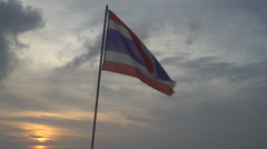 Thai flag blowing in the wind on sky Stock Footage