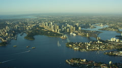 Aerial cityscape view of Sydney Australia Stock Footage