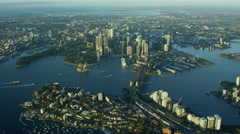 Aerial view of cityscape of Sydney Australia Stock Footage