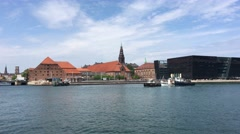 Boats in front of the Kobenhavns Havn Stock Footage