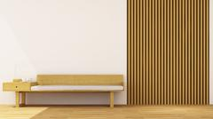 living room wooden decoration - 3d rendering - stock illustration
