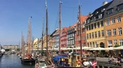 Sailboats in Nyhavn (New Harbour) in Copenhagen - stock footage