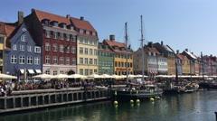 Nyhavn (New Harbour) in Copenhagen Stock Footage
