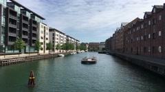 Canal cruise in Kobenhavns Havn Copenhagen Stock Footage