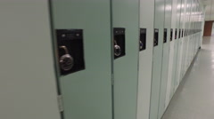 Steadicam shot of high school lockers with steadicam Stock Footage