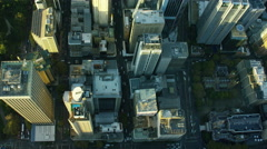 Aerial overhead view of downtown buildings Sydney Australia Stock Footage