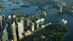 Aerial view of Sydney Harbor Bridge and Opera House Australia Stock Footage