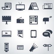 Vector black advertisement icon set Stock Illustration