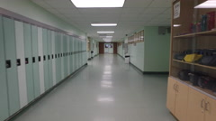 Steadicam Shot walking through high School Hallway Stock Footage