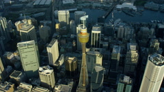 Aerial view of Centrepoint Tower in Sydney Australia Stock Footage