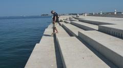 The sea organ in Zadar, Croatia Stock Footage