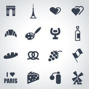 Vector black paris icon set - stock illustration
