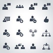 Vector black office people icon set Stock Illustration