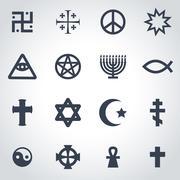 Vector black religious symbols set Stock Illustration