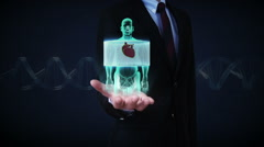 Businessman open palm, Zooming front body,scanning heart. cardiovascular system. Stock Footage