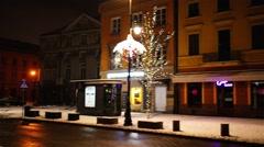 Krakowskie Przedmiescie in New Year, Warsaw - stock footage