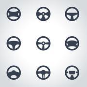Vector black steering wheels icon set - stock illustration