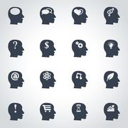 Vector black thoughts icon set Stock Illustration