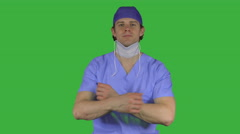 Surgeon is ready for work (Green Key) Stock Footage