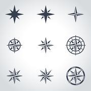 Vector black  wind rose icon set - stock illustration