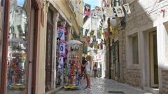 Street of historic center of Sibenik, Croatia Stock Footage