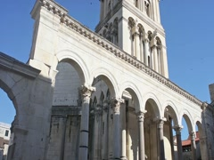 The Cathedral of St.Duje with the bell tower in Split, Croatia Stock Footage