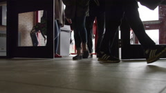 High School Hallway - close up of feet as students enter  - stock footage