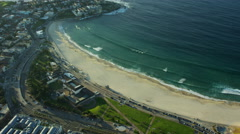 Aerial view of buildings and ocean at Bondi Beach Australia Stock Footage
