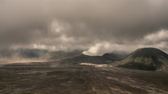 4K Nature timelapse of fast moving clouds. Mount Bromo national park, Indonesia - stock footage