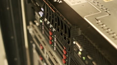 Server stand, communication equipment close up Stock Footage