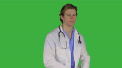 New young male doctor (Green Key) - stock footage