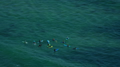 Aerial view of surfers at Bondi Beach Sydney Australia Stock Footage