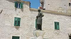 Juraj Dalmatinac statue in Sibenik, Croatia Stock Footage