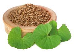 Ajwain seeds with thankuni leaves Stock Photos