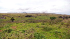 View of the coastal landscape in Easter Island, Chile Stock Footage