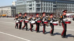 Young drummers are on parade in honor of the victory in World War II. - stock footage