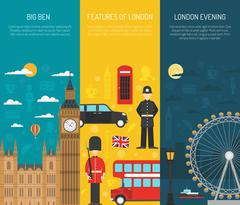 London Sightseeing 3 Vertical Banners Set Stock Illustration