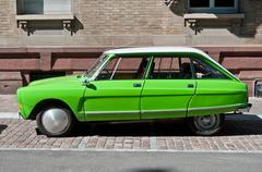 Green Citroen Ami 8 parked in the street Stock Photos
