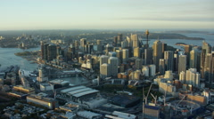 Aerial view of Centrepoint Tower and downtown skyscrapers in Sydney Australia Stock Footage