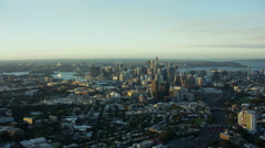 Aerial cityscape view at sunset of Sydney Australia Stock Footage