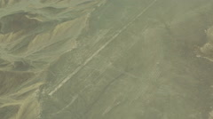Nazca Lines, Humming Bird, Aerial View from a plane Stock Footage