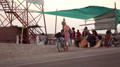 People at the Nazca lines observation tower Stock Footage