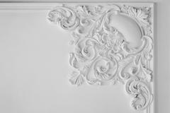 White wall molding with geometric shape and vanishing point. Horizontal Stock Photos