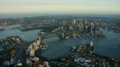 Aerial view of Sydney Harbor Bridge and Opera House sunset Arkistovideo