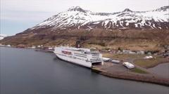 Aerial Of Boat & Icecap Mountain In Seyðisfjörður Iceland Stock Footage