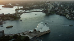 Aerial view of Sydney Harbor Bridge climb at sunset Australia Stock Footage