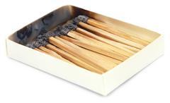 Burnt matchsticks Stock Photos