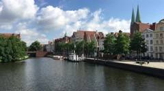 The Trave river around the old town of Lübeck - stock footage