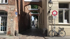Small street in the old town of Lübeck Stock Footage