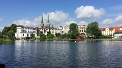 Krähenteich lake in the old town of Lübeck Stock Footage